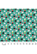 Christmas Collection Santa Paws, Cat Heads in Turquoise, Dinner Napkin