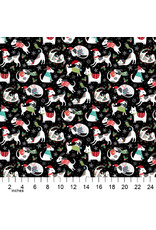 Christmas Collection Santa Paws, Dog Features in Black, Dinner Napkin