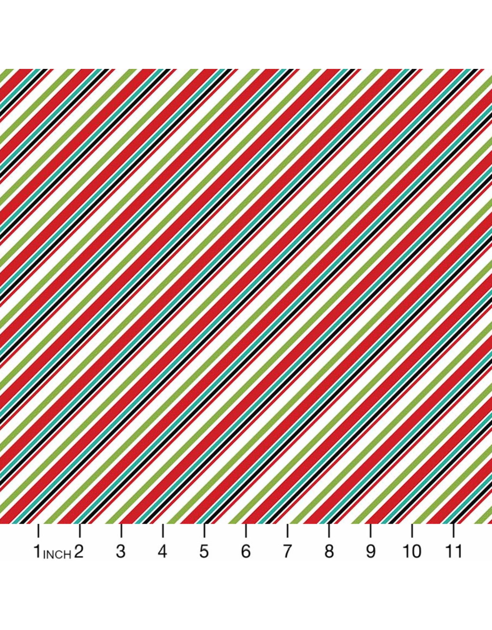 Christmas Collection Santa Paws, Diagonal Stripe in White Multi, Dinner Napkin