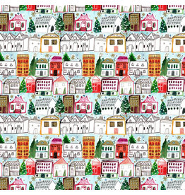 August Wren Love at Frost Sight, Holiday Village, Fabric Half-Yards
