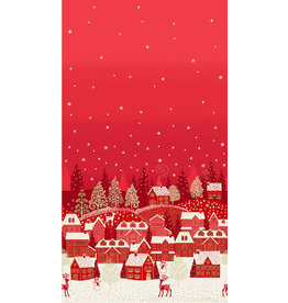 Andover Fabrics Scandi 2021, Holiday Village Double Border in Red, Fabric Half-Yards