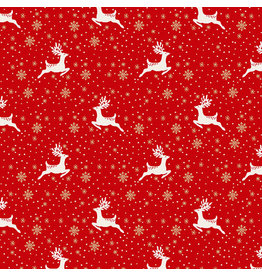 Andover Fabrics Scandi 2021, Reindeer Leaping in Red, Fabric Half-Yards