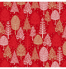 Andover Fabrics Scandi 2021, Winter Forest in Red, Fabric Half-Yards
