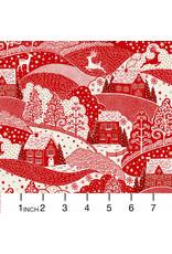 Andover Fabrics Scandi 2021, Holiday Village in Red, Fabric Half-Yards