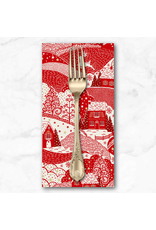 Christmas Collection Scandi 2021, Holiday Village in Red, Dinner Napkin