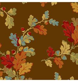 Renee Nanneman Acorn Harvest, Mighty Oak in Chocolate, Fabric Half-Yards