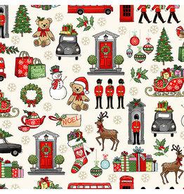 Andover Fabrics London Christmas, London Icons in Cream, Fabric Half-Yards
