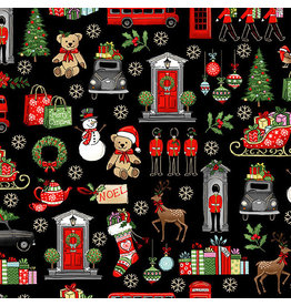 Andover Fabrics London Christmas, London Icons in Black, Fabric Half-Yards