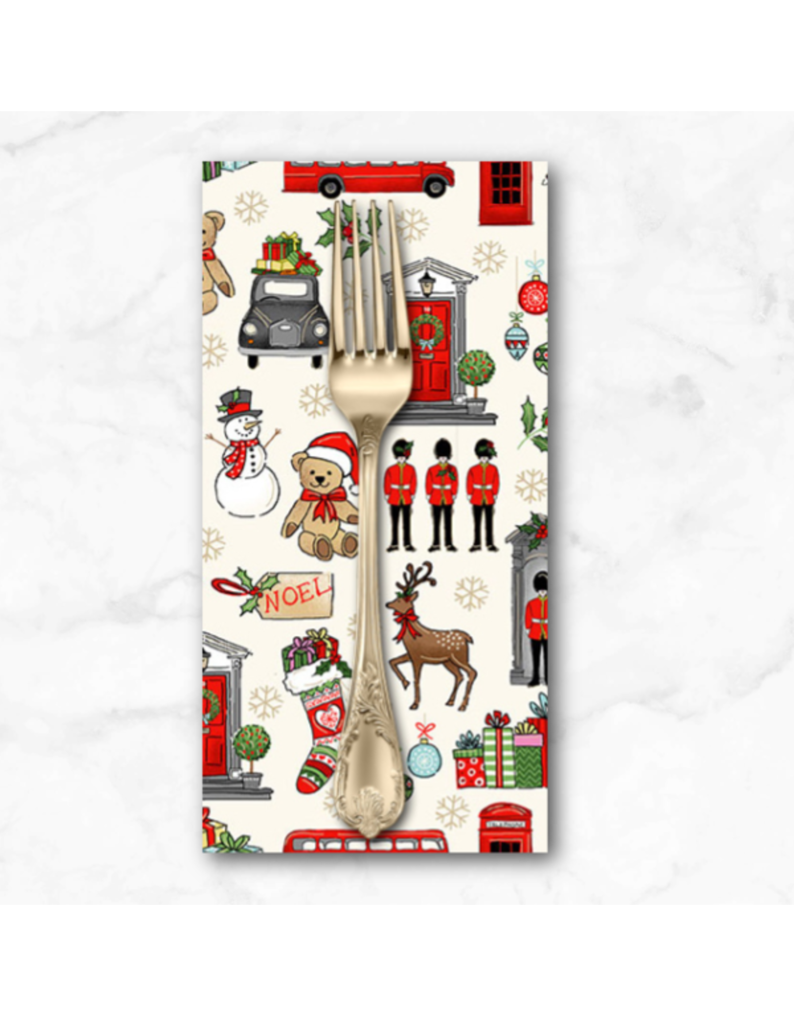 Christmas Collection London Christmas, London Icons in Cream, Dinner Napkin