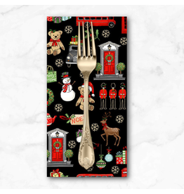 Christmas Collection London Christmas, London Icons in Black, Dinner Napkin