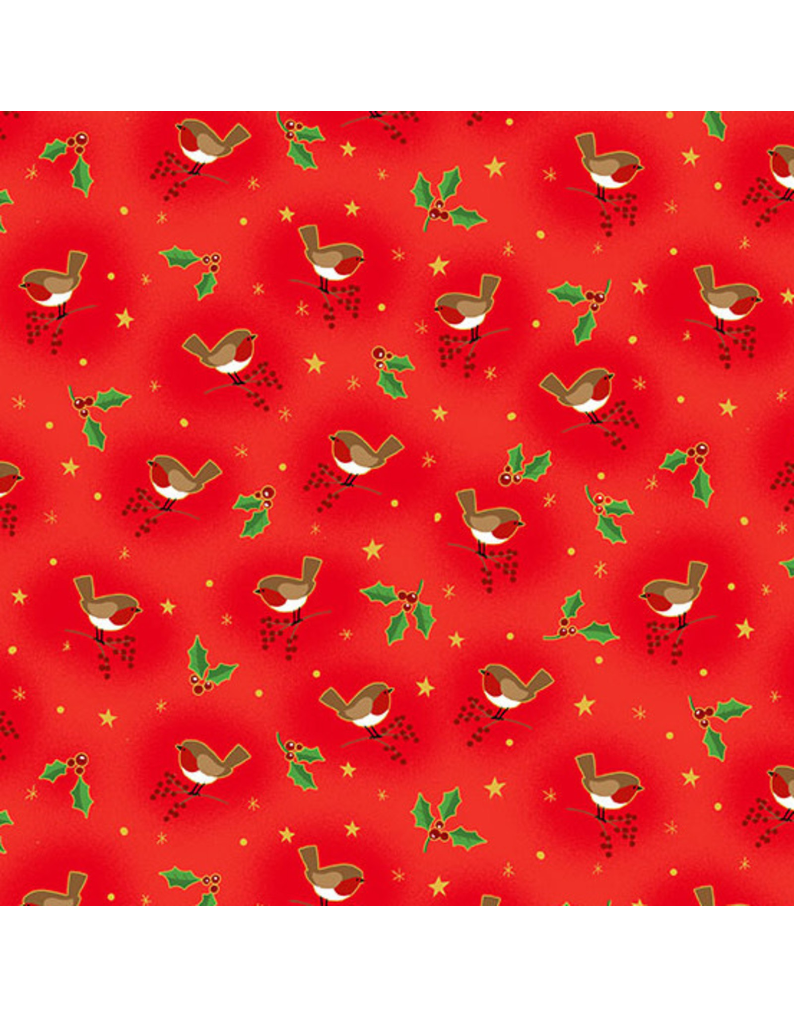 Andover Fabrics Classic Foliage, Birds in Red, Fabric Half-Yards