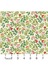 Andover Fabrics Classic Foliage, Holly Berries in Cream, Fabric Half-Yards