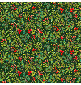 Andover Fabrics Classic Foliage, Holly Berries in Evergreen, Fabric Half-Yards