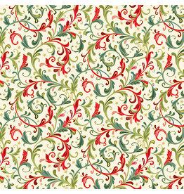 Andover Fabrics Classic Foliage, Christmas Scroll in Cream, Fabric Half-Yards