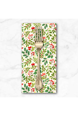 Christmas Collection Classic Foliage, Holly Berries in Cream, Dinner Napkin