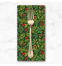 Christmas Collection Classic Foliage, Holly Berries in Evergreen, Dinner Napkin