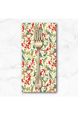 Christmas Collection Classic Foliage, Christmas Scrolls in Cream, Dinner Napkin