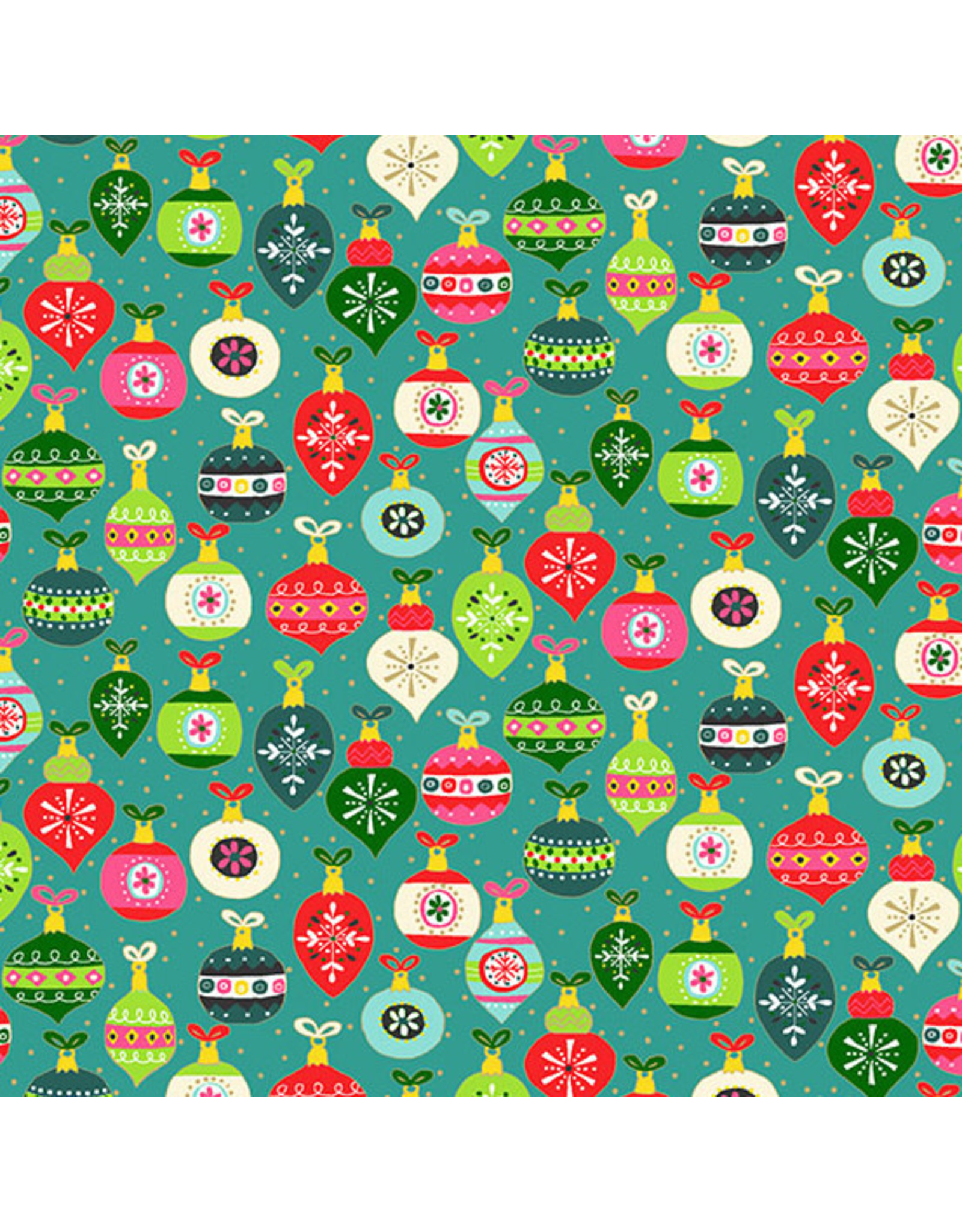 Andover Fabrics Santa Express, Baubles in Teal, Fabric Half-Yards