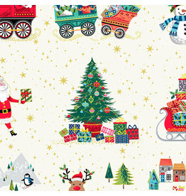 Andover Fabrics Santa Express, Placement in White, Fabric Half-Yards