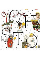 J. Wecker Frisch All About Christmas, Story in White, Fabric Half-Yards