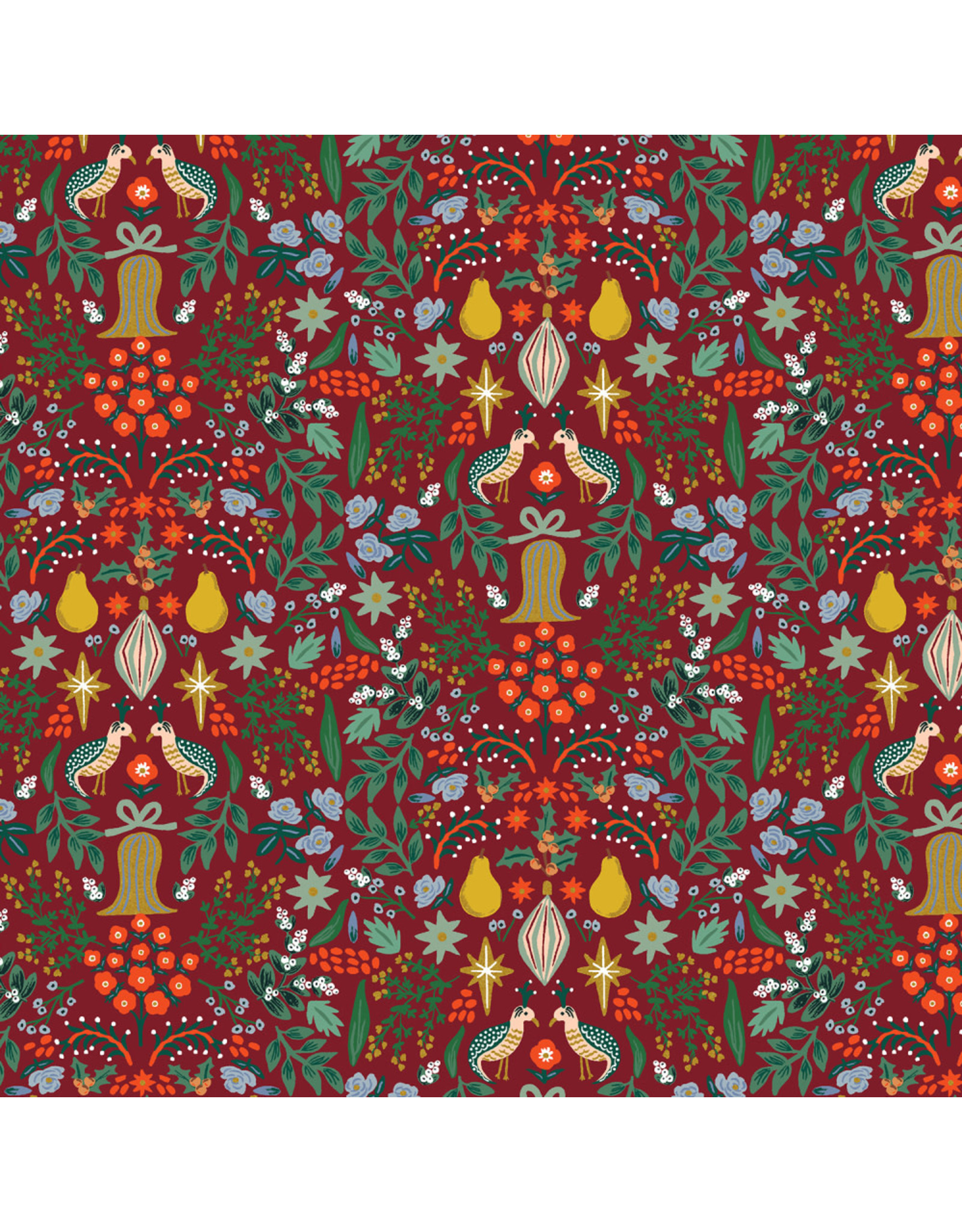 Rifle Paper Co. Holiday Classics, Partridge in Berry with Metallic, Fabric Half-Yards