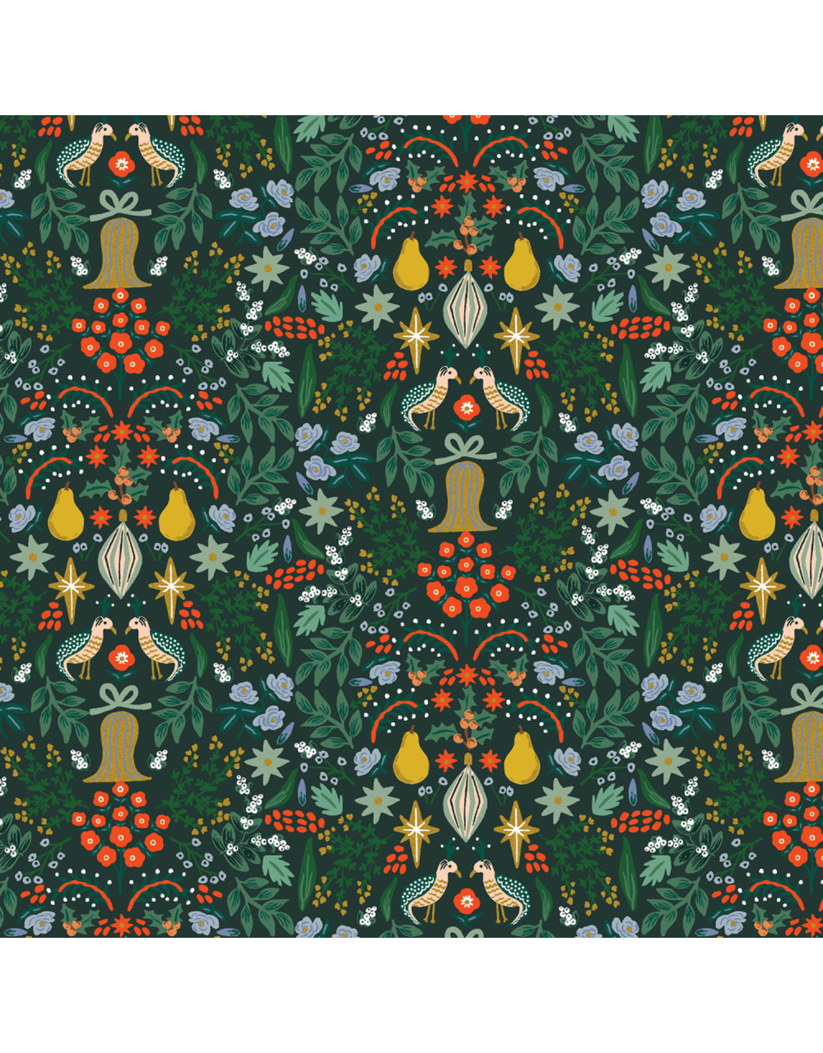 Rifle Paper Co. Holiday Classics, Partridge in Evergreen with Metallic, Fabric Half-Yards