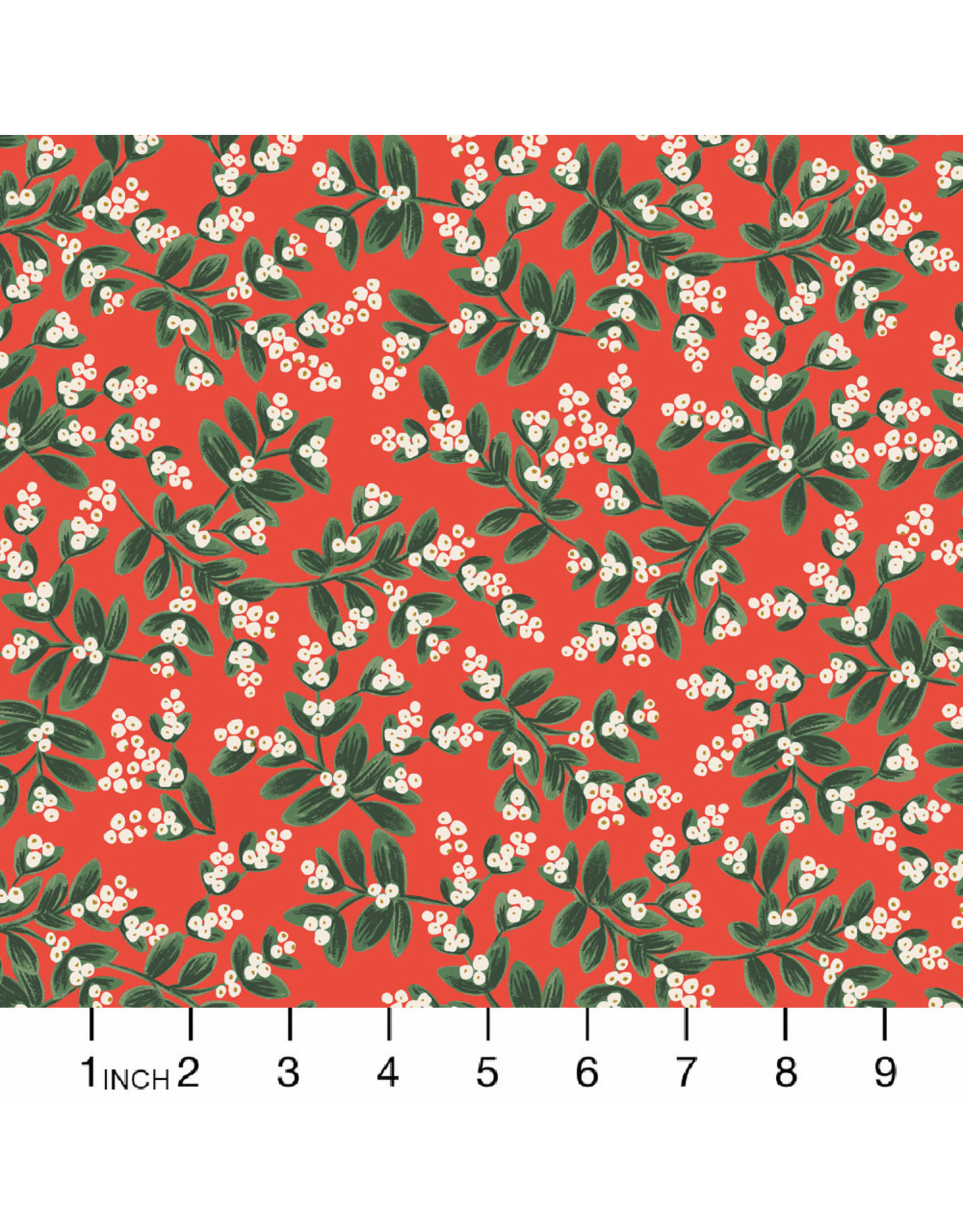 Rifle Paper Co. Holiday Classics, Mistletoe in Red with Metallic, Fabric Half-Yards