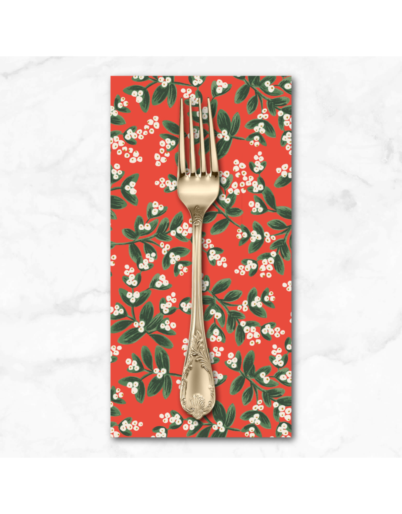 Christmas Collection Holiday Classics, Mistletoe in Red, Dinner Napkin