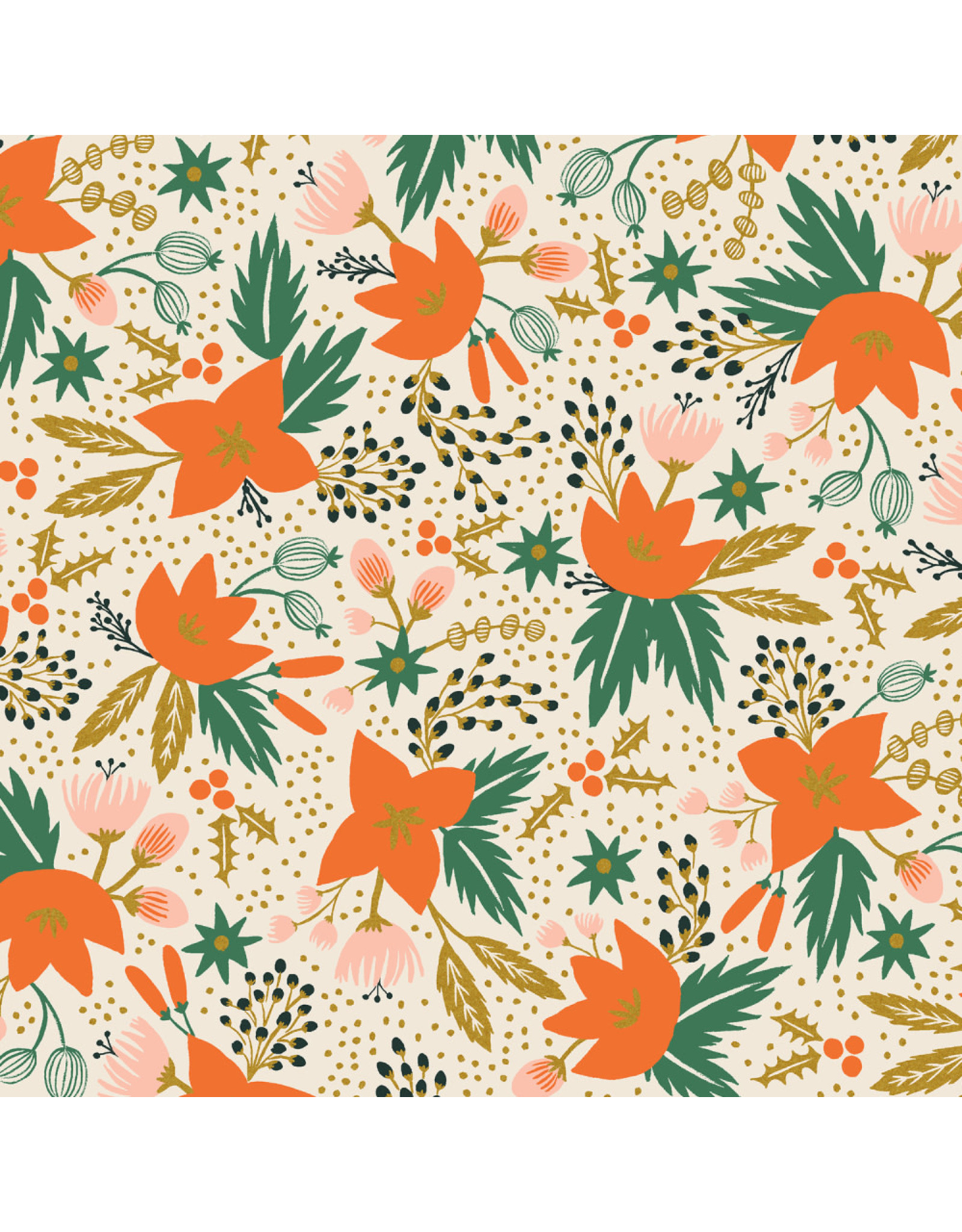 Rifle Paper Co. Holiday Classics, Poinsettia in Cream with Metallic, Fabric Half-Yards