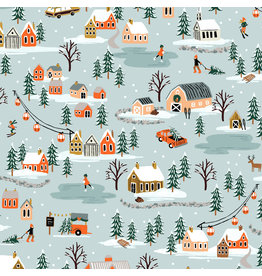 Rifle Paper Co. Holiday Classics, Holiday Village in Mint, Fabric Half-Yards