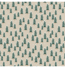 Rifle Paper Co. Holiday Classics, Fir Trees in Linen, Fabric Half-Yards