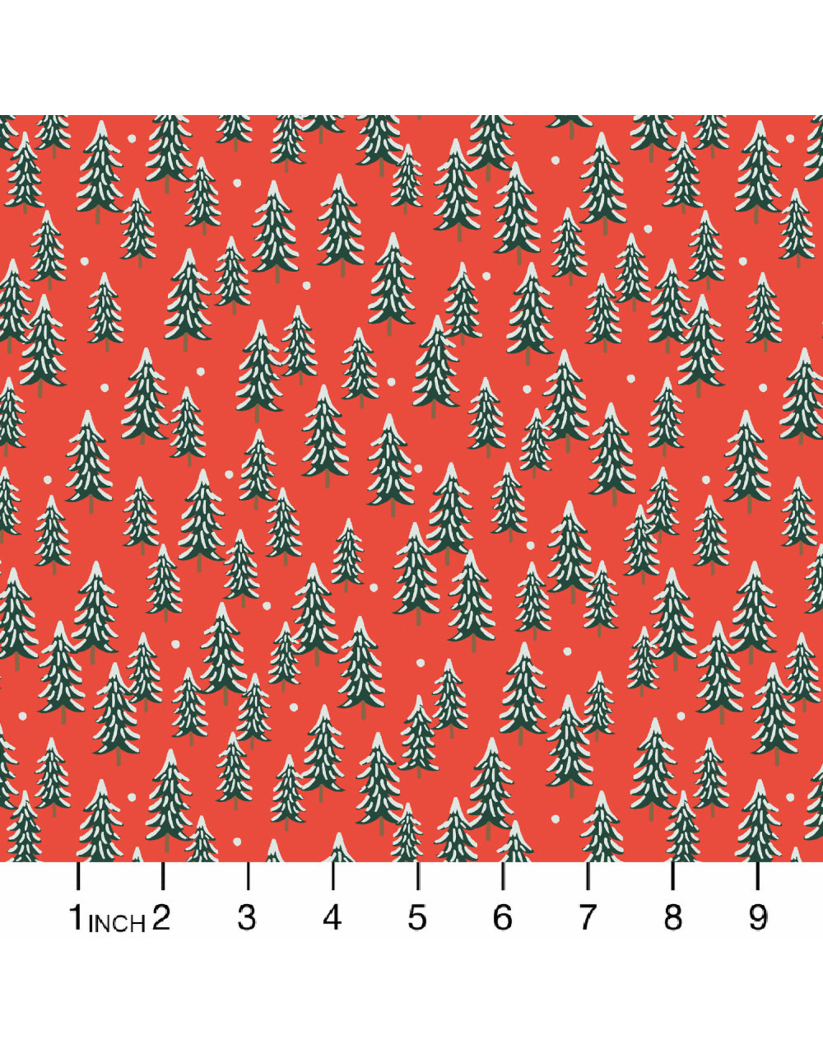 Rifle Paper Co. Holiday Classics, Fir Trees in Red, Fabric Half-Yards