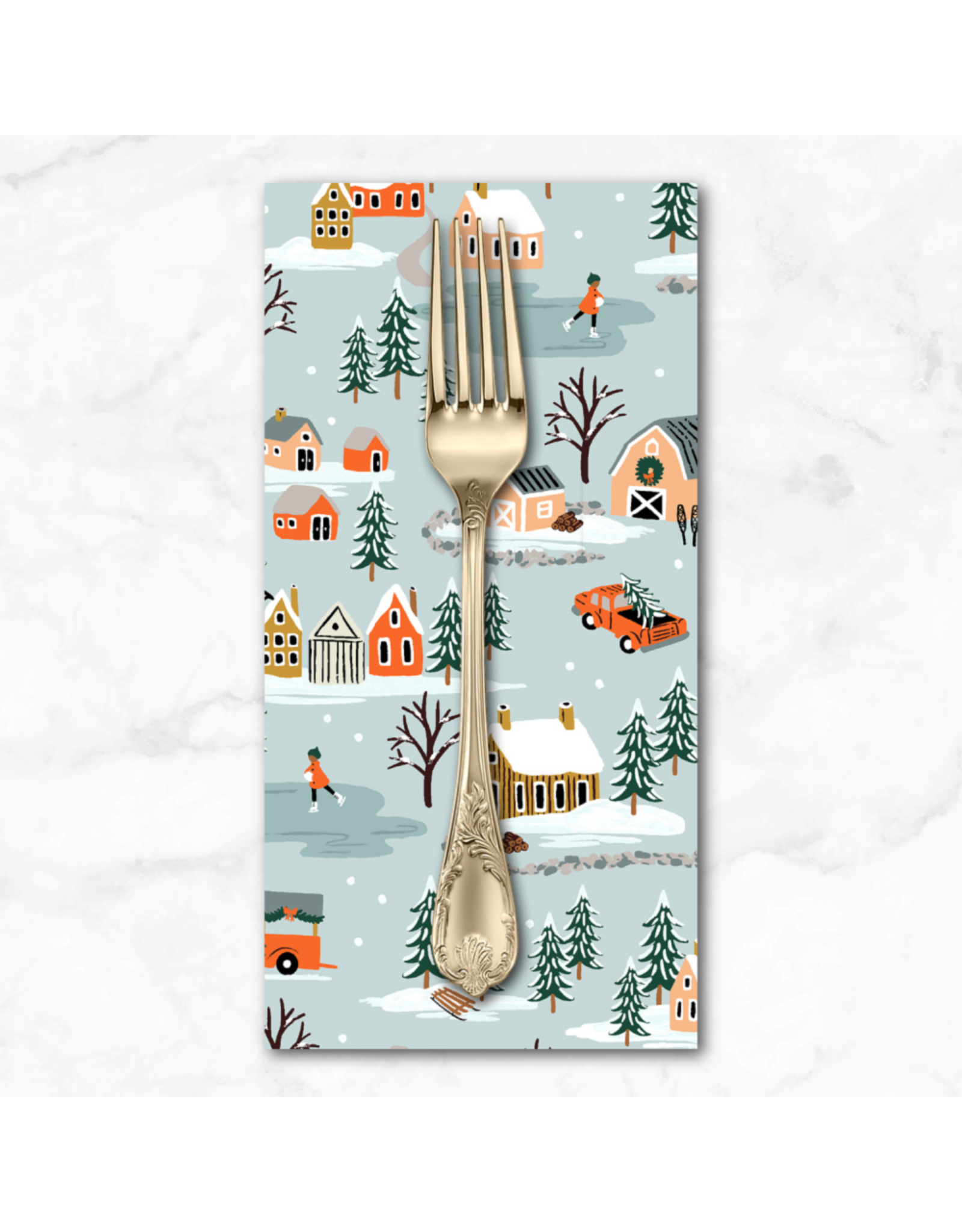 Christmas Collection Holiday Classics, Holiday Village in Mint, Dinner Napkin