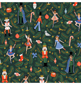 Rifle Paper Co. Holiday Classics, Nutcracker in Evergreen with Metallic, Fabric Half-Yards