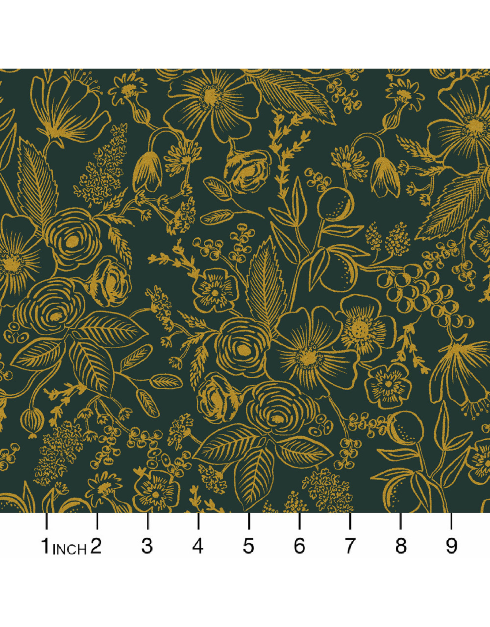 Rifle Paper Co. Holiday Classics, Colette in Evergreen with Metallic, Fabric Half-Yards