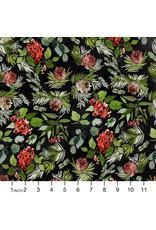 Tim Holtz Christmastime, Evergreen Floral in Black, Fabric Half-Yards