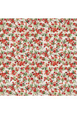 Tim Holtz Christmastime, Winter Berries in Red, Fabric Half-Yards