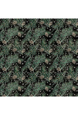 Tim Holtz Christmastime, Pine Boughs in Black, Fabric Half-Yards