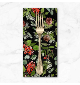 Christmas Collection Christmastime, Evergreen Floral in Black, Dinner Napkin