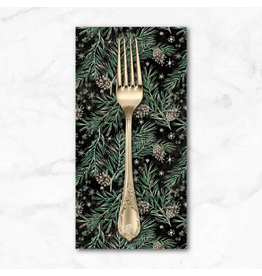Christmas Collection Christmastime, Pine Boughs in Black, Dinner Napkin