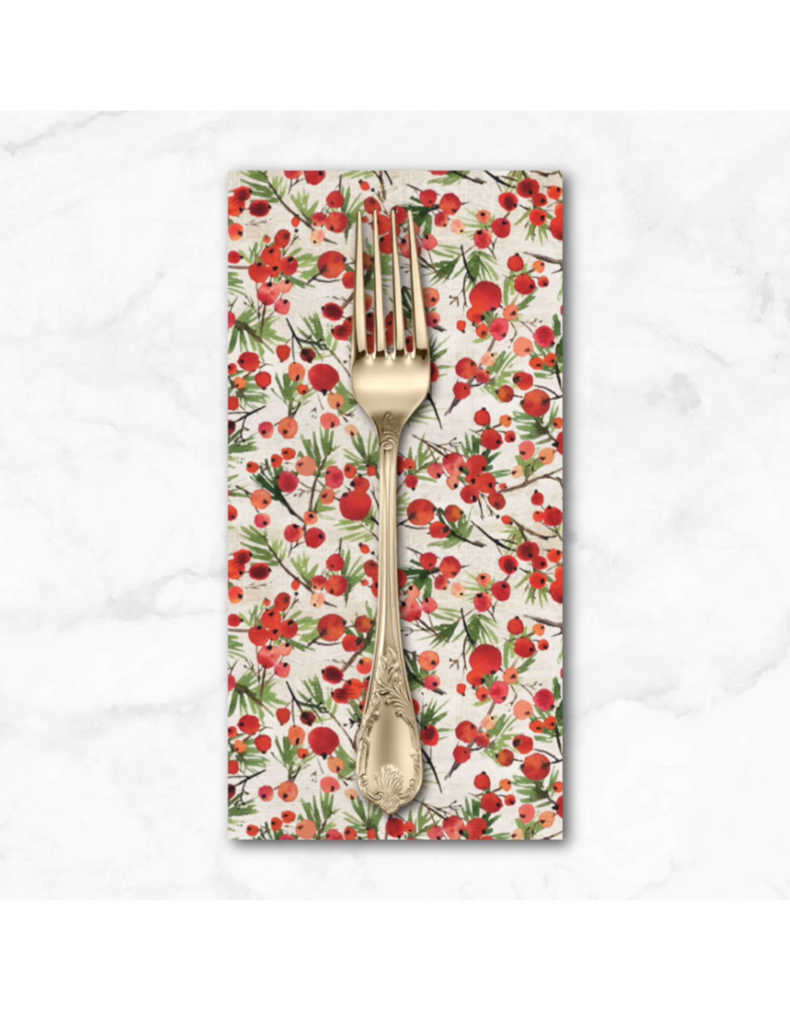 Christmas Collection Christmastime, Winter Berries in Red, Dinner Napkin