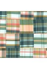 Robert Kaufman Nantucket Patchwork Madras in Americana, Fabric Half-Yards
