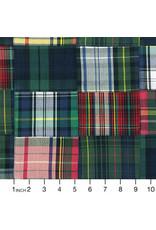 Robert Kaufman Nantucket Patchwork Madras in Holly, Fabric Half-Yards