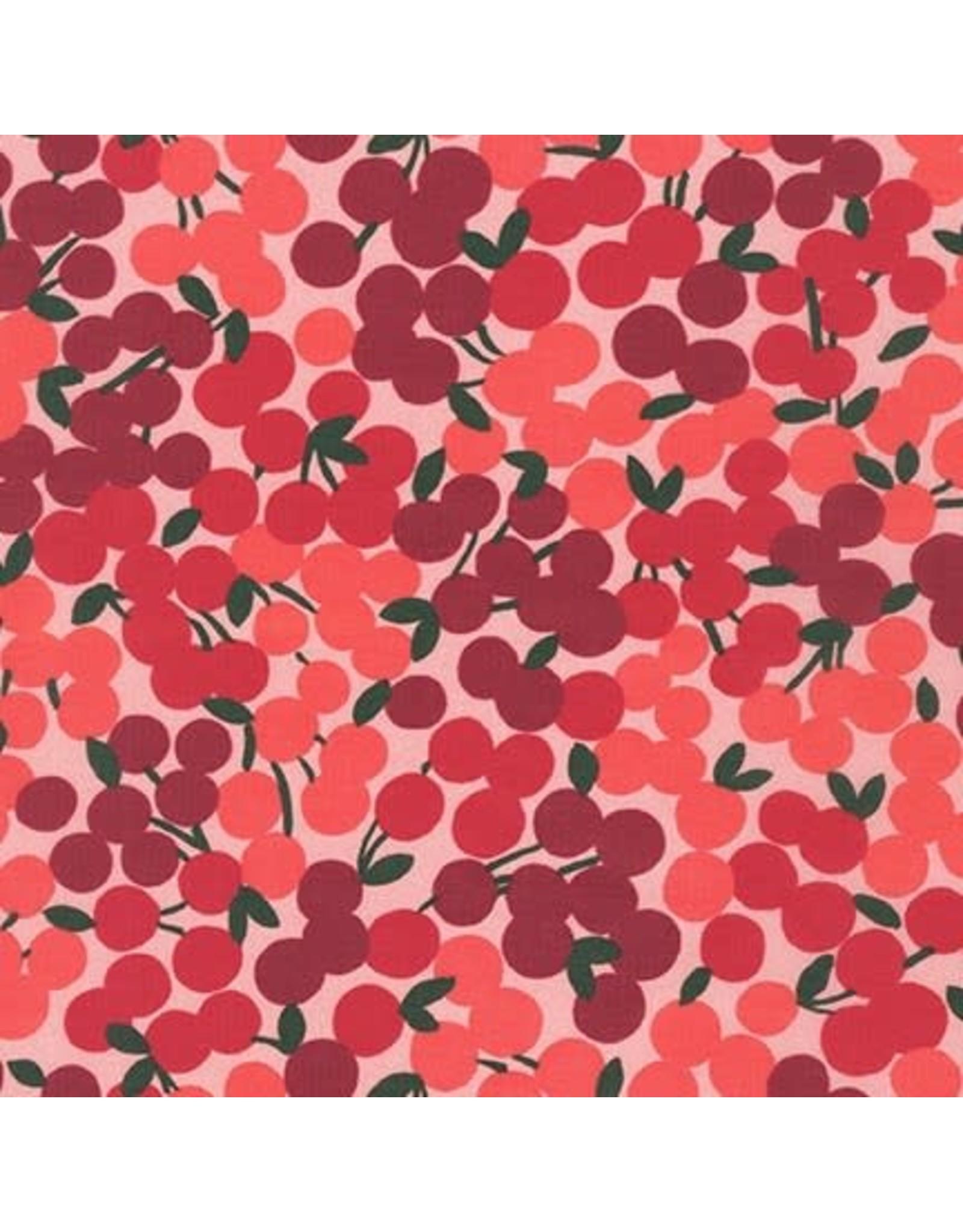 Robert Kaufman Cotton Lawn, Wishwell Cheery Blossoms in Cherry, Fabric Half-Yards