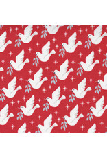 Moda Christmas Morning, Lovey Dovey in Cranberry, Fabric Half-Yards