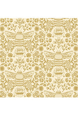 RJR Fabrics Summer in the Cotswolds, Bee's Knees in High Noon with Metallic, Fabric Half-Yards