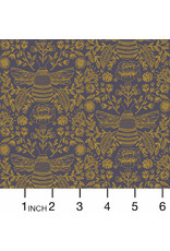 RJR Fabrics Summer in the Cotswolds, Bee's Knees in Twilight with Metallic, Fabric Half-Yards