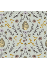 RJR Fabrics Summer in the Cotswolds, Beehive in Sage with Metallic, Fabric Half-Yards