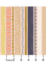 RJR Fabrics Summer in the Cotswolds, Bumble Bee Stripe in Daybreak with Metallic, Fabric Half-Yards
