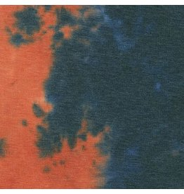 Robert Kaufman Sunset Studio French Terry Knit in Tie Dye Black and Rust, Fabric Half-Yards